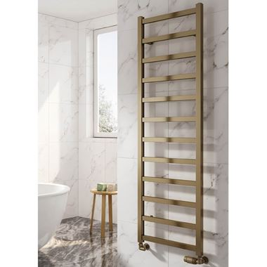 Reina Fano Bronze Satin Aluminium Heated Ladder Towel Radiator