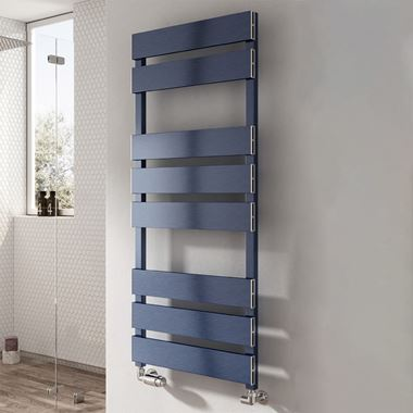 Reina Fermo Blue Satin Aluminium Heated Ladder Towel Radiator