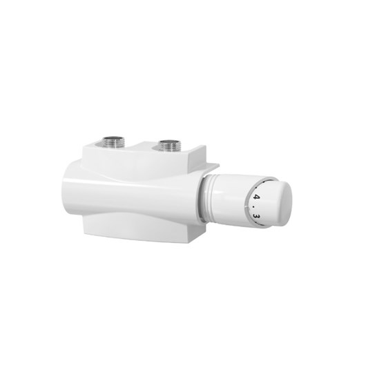 "Reina Modah Twin ""H"" Type Thermostatic Radiator Valve - White"