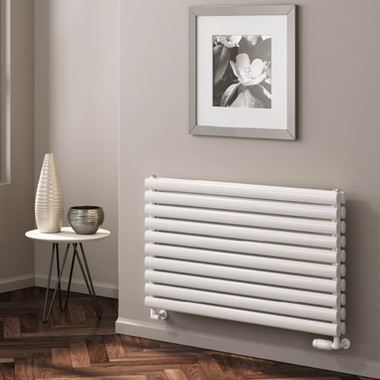 Reina Nevah Horizontal Single Panel Designer Radiator - White