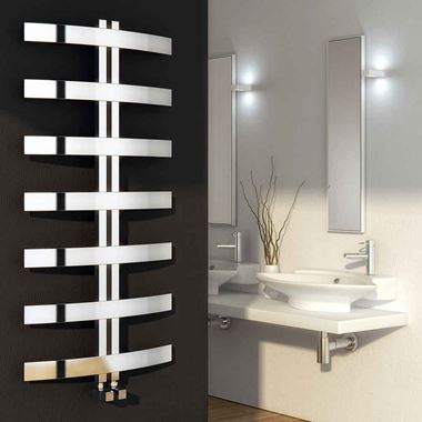 Reina Riesi Polished Stainless Steel Bathroom Heated Towel Rail Radiator