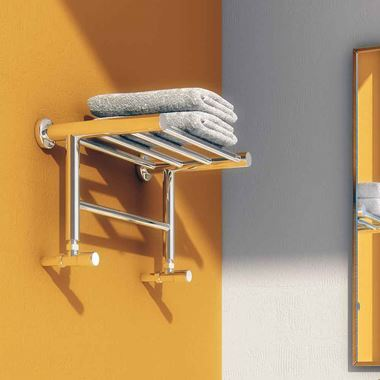 Reina Troisi Polished Steel Designer Heated Towel Rail Rack Radiator