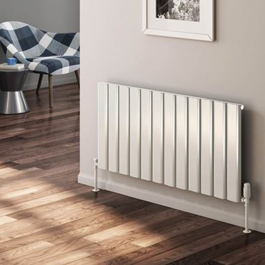 Reina Vicari Aluminium Single Panel Horizontal Designer Radiator - White