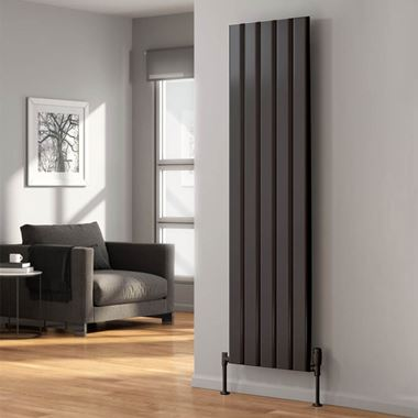 Reina Vicari Aluminium Single Panel Vertical Designer Radiator - Anthracite