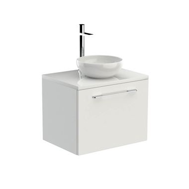 Saneux Austen White Gloss Wall Hung Vanity Unit and Optional Basin - 600mm