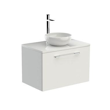 Saneux Austen White Gloss Wall Hung Vanity Unit and Optional Basin - 710mm