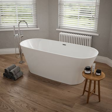 Sebastian Acrylic White Freestanding Bath - 1500 x 700mm