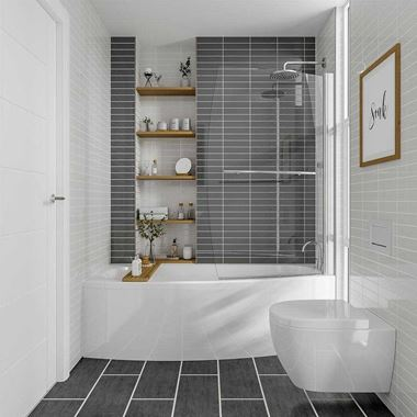 Sienna Space Saver Shower Bath with Front Panel & Screen - 1695mm x 695mm - Right Hand