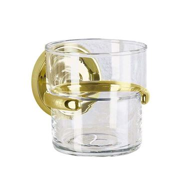 Smedbo Villa Glass Tumbler and Holder - Brass