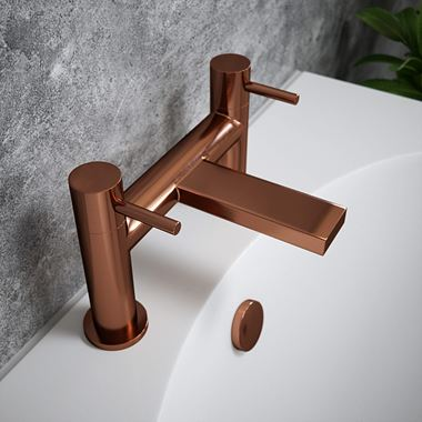 The Tap Factory Vibrance Brushed Copper Deck Mounted Bath Filler - 6 Handle Colours
