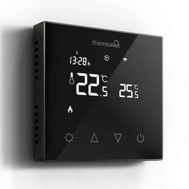 Thermosphere Thermotouch 7.6iG Glass Programmable Thermostat - Black Glass