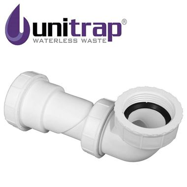 Uniwaste Waterless Waste Space-Saving Trap - Basins, Baths & Bidets