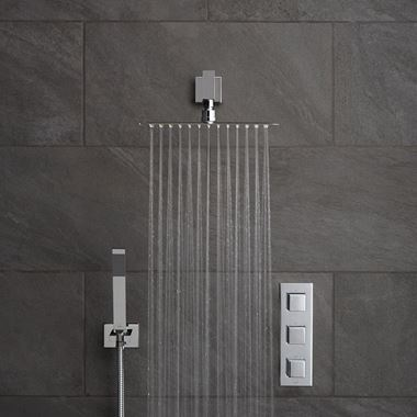 Vado Tablet Notion Concealed Thermostatic Shower Package with Fixed Shower Head & Handset