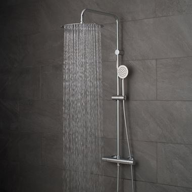 Vado Velo Aquablade Rigid Riser Shower Package with Exposed Thermostatic Shower Valve and Handset