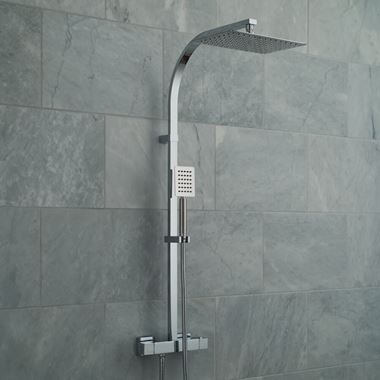 Vado Velo Aquablade Rigid Riser Shower Kit with Exposed Thermostatic Shower Valve and Handset