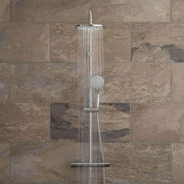 Vado Velo Atmosphere Rigid Riser Shower Kit with Exposed Thermostatic Shower Valve and Handset
