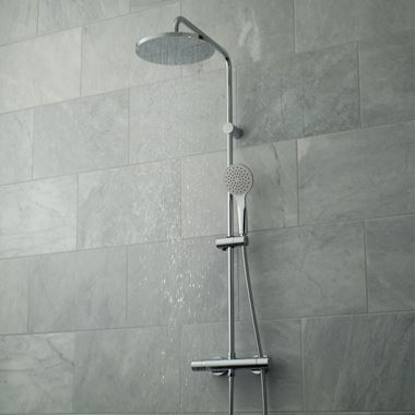 Vado Velo Rigid Riser Shower Kit with Exposed Thermostatic Shower Valve, Fixed Head and Handset
