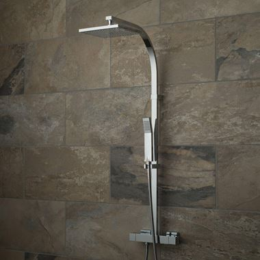 Vado Velo Rigid Riser Shower Kit with Exposed Thermostatic Shower Valve, Square Fixed Head and Handset