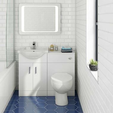 Vellamo Alpine 1050mm 2 Door Furniture Suite with Back to Wall Toilet & Concealed Cistern - Gloss White