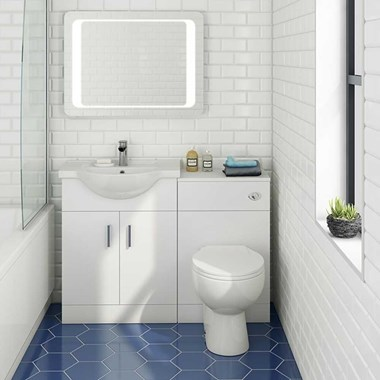 Vellamo Alpine 1150mm 2 Door Furniture Suite with Back to Wall Toilet & Concealed Cistern - Gloss White