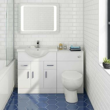 Vellamo Alpine 1250mm 3 Door Furniture Suite with Back to Wall Toilet & Concealed Cistern - Gloss White