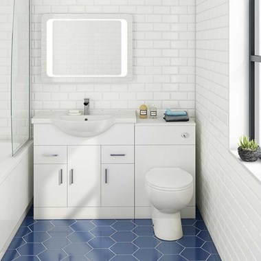 Vellamo Alpine 1350mm 3 Door Furniture Suite with Back to Wall Toilet & Concealed Cistern - Gloss White