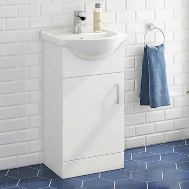 Vellamo Alpine 450mm Floorstanding Vanity Unit & Basin - Gloss White