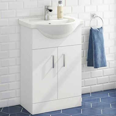Vellamo Alpine 550mm Floorstanding Vanity Unit & Basin - Gloss White