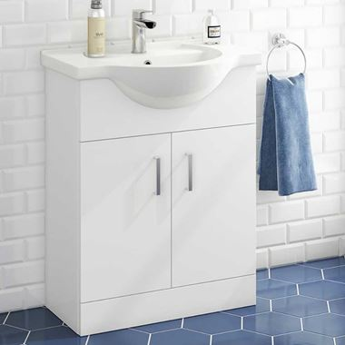Vellamo Alpine 650mm Floorstanding Vanity Unit & Basin - Gloss White