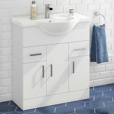 Vellamo Alpine 750mm Floorstanding Vanity Unit & Basin - Gloss White