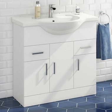 Vellamo Alpine 850mm Floorstanding Vanity Unit & Basin - Gloss White