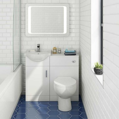 Vellamo Alpine 950mm 1 Door Combination Basin & Toilet Suite - Gloss White