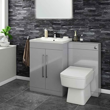 Vellamo Aspire 1100mm 2 Door Combination Basin & Toilet Unit - Gloss Grey