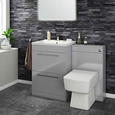 Vellamo Aspire 1100mm 2 Drawer Combination Basin & Toilet Unit - Gloss Grey
