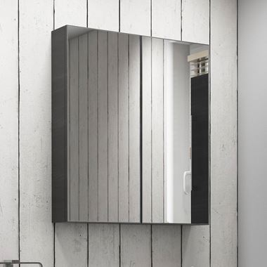 Vellamo Aspire 2 Door Black Ash Mirror Cabinet - 600 x 715mm