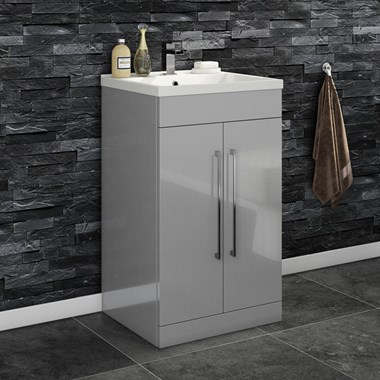 Vellamo Aspire 500mm Floorstanding 2 Door Vanity Unit & Basin - Gloss Grey