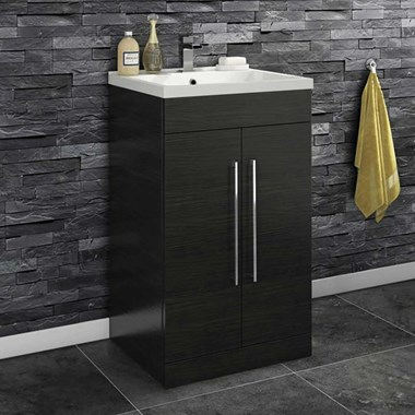 Vellamo Aspire 500mm Floorstanding 2 Door Vanity Unit & Basin - Black Ash