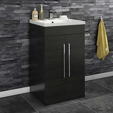 Vellamo Aspire 500mm Floorstanding 2 Door Vanity Unit & Mid-Edge Ceramic Basin - Black Ash