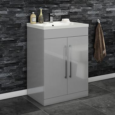 Vellamo Aspire 600mm Floorstanding 2 Door Vanity Unit & Basin - Gloss Grey
