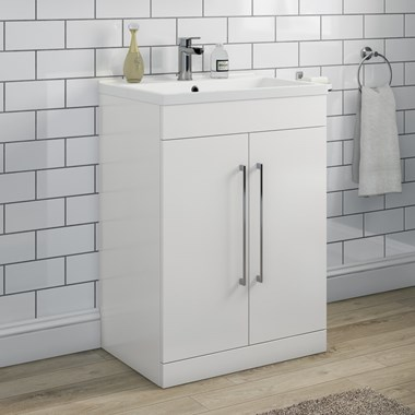 Vellamo Aspire 600mm Floorstanding 2 Door Vanity Unit & Basin - Gloss White