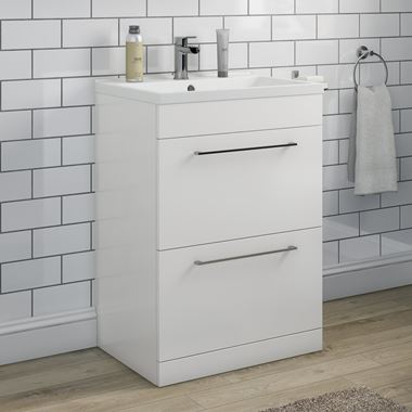 Vellamo Aspire 600mm Floorstanding 2 Drawer Vanity Unit & Basin - Gloss White