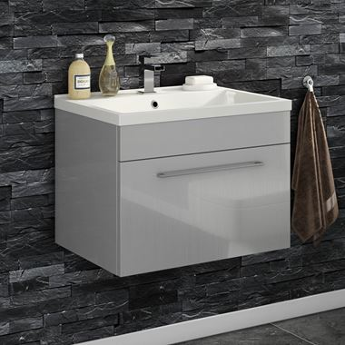 Vellamo Aspire 600mm Wall Mounted 1 Drawer Vanity Unit & Basin - Gloss Grey