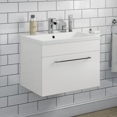 Vellamo Aspire 600mm Wall Mounted 1 Drawer Vanity Unit & Basin - Gloss White