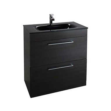 Vellamo Aspire 800mm Floorstanding 2 Drawer Vanity Unit & Black Glass Basin - Black Ash