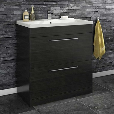 Vellamo Aspire 800mm Floorstanding 2 Drawer Vanity Unit & Basin - Black Ash