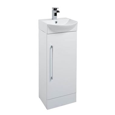 Vellamo Aspire Compact Cloakroom Floorstanding White Vanity Unit & Basin - 350mm