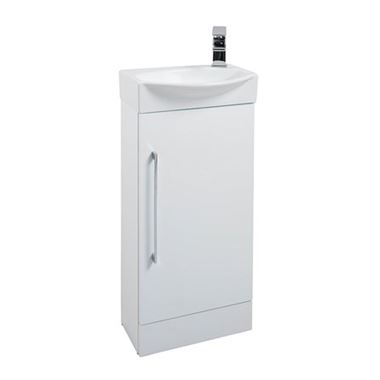 Vellamo Aspire Compact Cloakroom Floorstanding White Vanity Unit & Basin - 408mm
