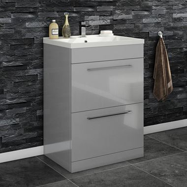 Vellamo Aspire 600mm Floorstanding 2 Drawer Vanity Unit & Basin - Gloss Grey
