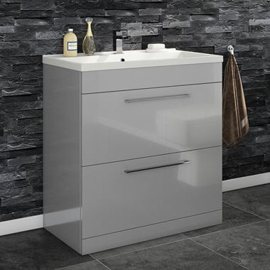 Vellamo Aspire 800mm Floorstanding 2 Drawer Vanity Unit & Basin - Gloss Grey