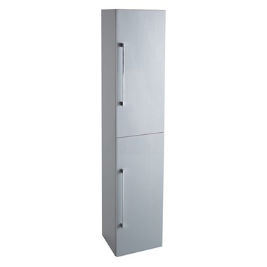 Vellamo Aspire Tall 2 Door Wall Mounted Bathroom Storage Unit - Gloss Grey